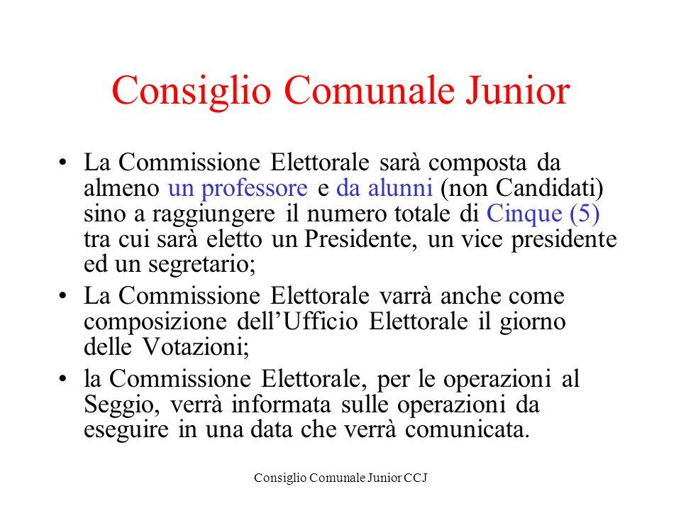 Consiglio Comunale Junior CCJ Consiglio Comunale Junior La Commissione Elettorale sarà composta da almeno un professore e da alunni (non Candidati) si