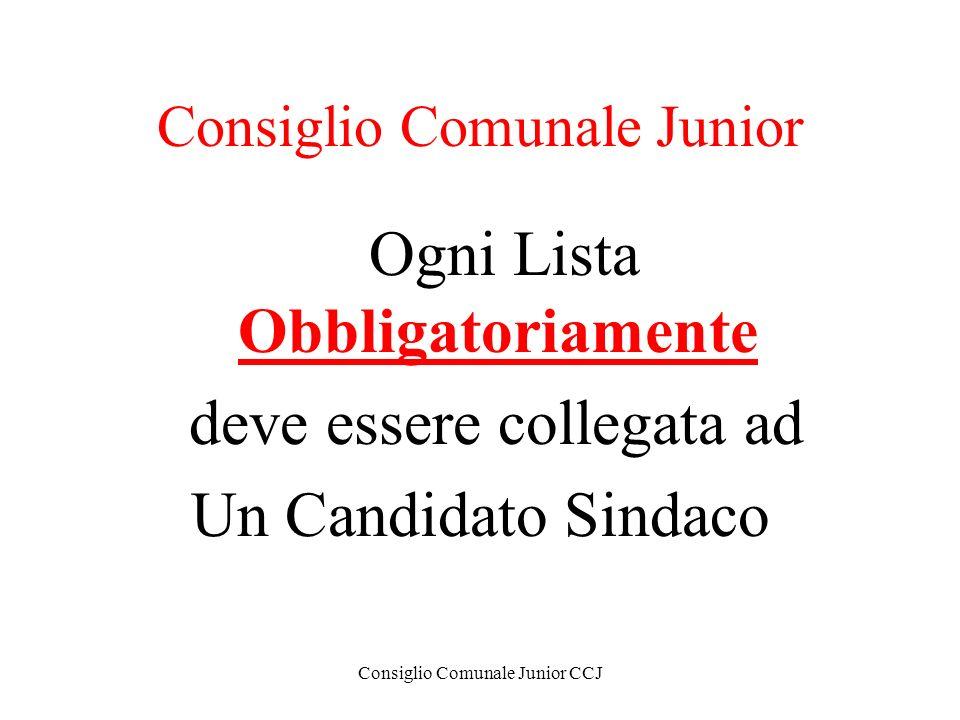Consiglio Comunale Junior CCJ Consiglio Comunale Junior Ogni Lista Obbligatoriamente deve essere collegata ad Un Candidato Sindaco