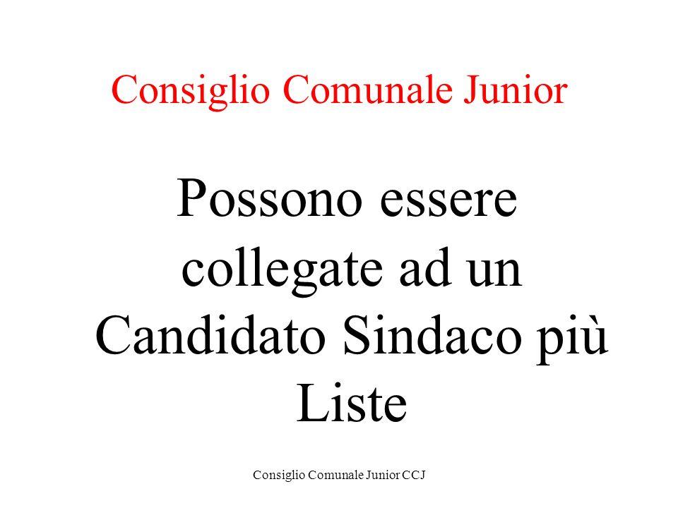 Consiglio Comunale Junior CCJ Consiglio Comunale Junior Possono essere collegate ad un Candidato Sindaco più Liste