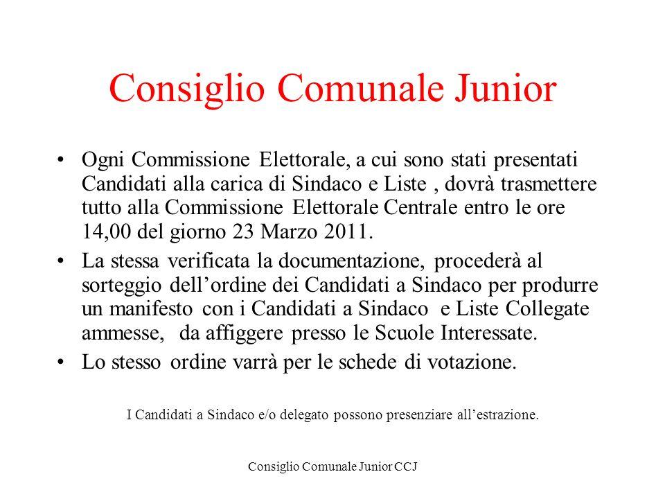 Consiglio Comunale Junior CCJ Consiglio Comunale Junior Ogni Commissione Elettorale, a cui sono stati presentati Candidati alla carica di Sindaco e Li