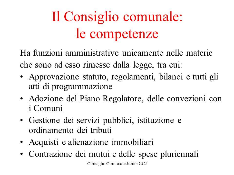 Consiglio Comunale Junior CCJ Il Consiglio comunale: le competenze Ha funzioni amministrative unicamente nelle materie che sono ad esso rimesse dalla