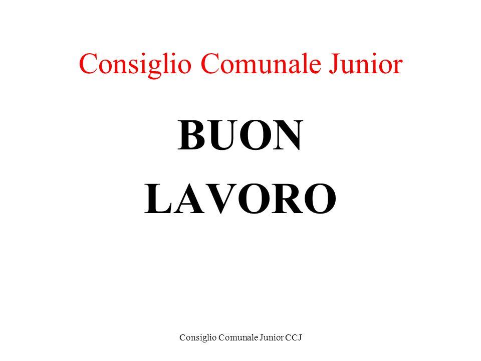 Consiglio Comunale Junior CCJ Consiglio Comunale Junior BUON LAVORO