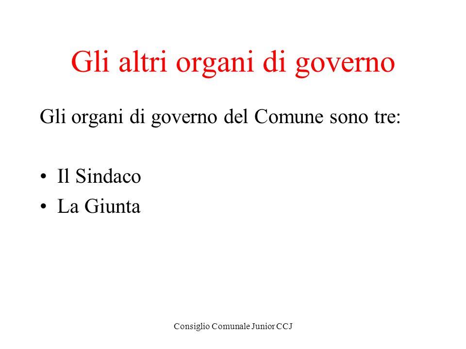 Consiglio Comunale Junior CCJ Gli altri organi di governo Gli organi di governo del Comune sono tre: Il Sindaco La Giunta