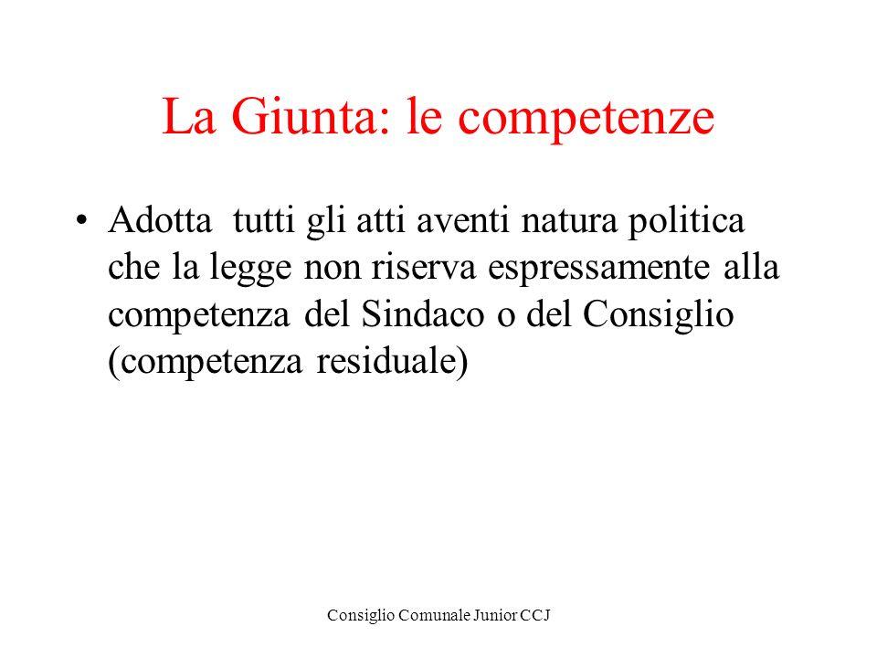 Consiglio Comunale Junior CCJ La Giunta: le competenze Adotta tutti gli atti aventi natura politica che la legge non riserva espressamente alla compet