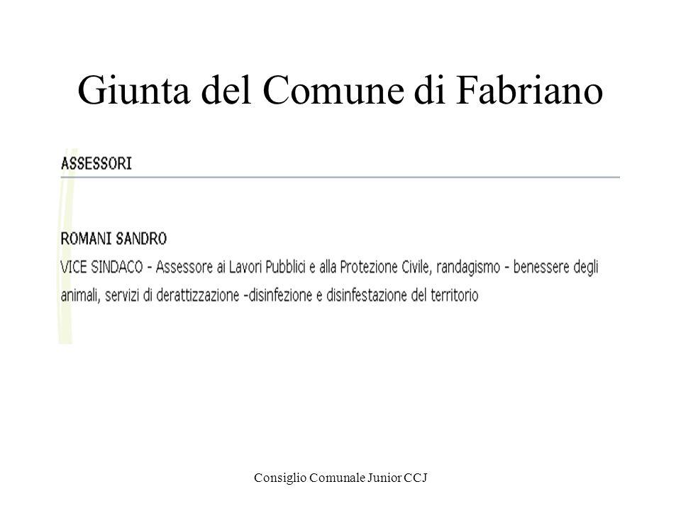 Consiglio Comunale Junior CCJ Giunta del Comune di Fabriano