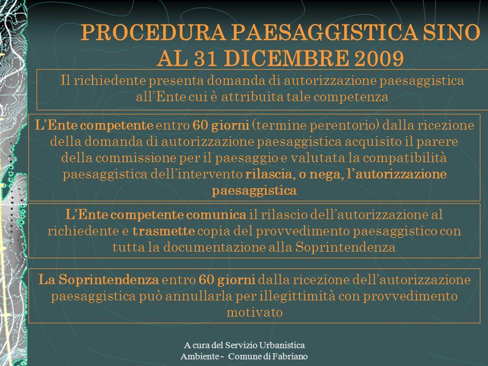 A cura del Servizio Urbanistica Ambiente - Comune di Fabriano PROCEDURA PAESAGGISTICA SINO AL 31 DICEMBRE 2009 Il richiedente presenta domanda di auto