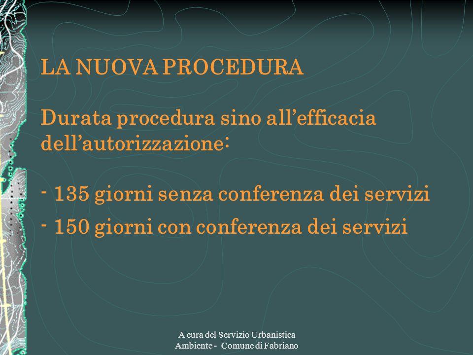 A cura del Servizio Urbanistica Ambiente - Comune di Fabriano LA NUOVA PROCEDURA Durata procedura sino allefficacia dellautorizzazione: - 135 giorni s