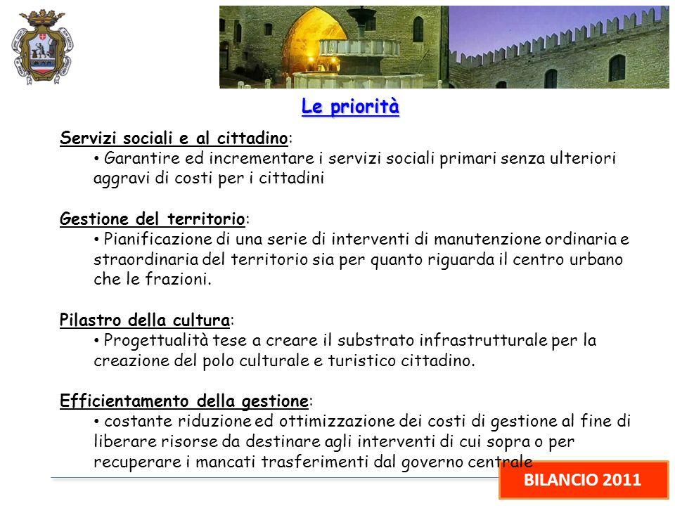 BILANCIO 2011 Le priorità Servizi sociali e al cittadino: Garantire ed incrementare i servizi sociali primari senza ulteriori aggravi di costi per i c
