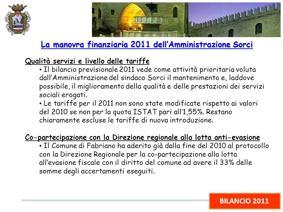 BILANCIO 2011 La manovra finanziaria 2011 dellAmministrazione Sorci Qualità servizi e livello delle tariffe Il bilancio previsionale 2011 vede come at