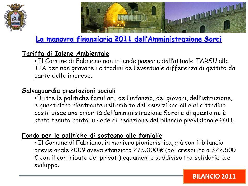 BILANCIO 2011 La manovra finanziaria 2011 dellAmministrazione Sorci Tariffa di Igiene Ambientale Il Comune di Fabriano non intende passare dallattuale