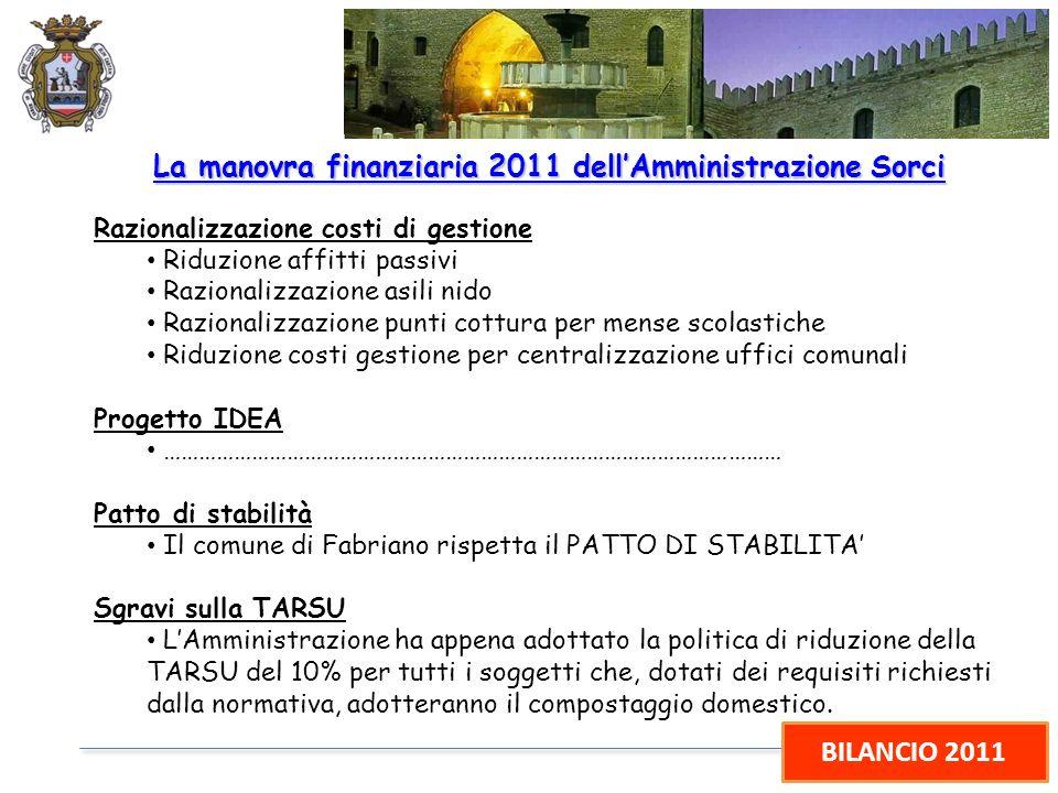 BILANCIO 2011 La manovra finanziaria 2011 dellAmministrazione Sorci Razionalizzazione costi di gestione Riduzione affitti passivi Razionalizzazione as