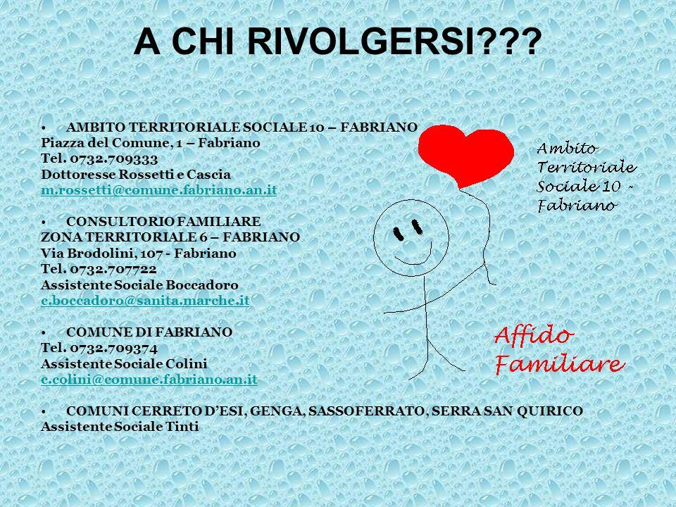A CHI RIVOLGERSI??? AMBITO TERRITORIALE SOCIALE 10 – FABRIANO Piazza del Comune, 1 – Fabriano Tel. 0732.709333 Dottoresse Rossetti e Cascia m.rossetti