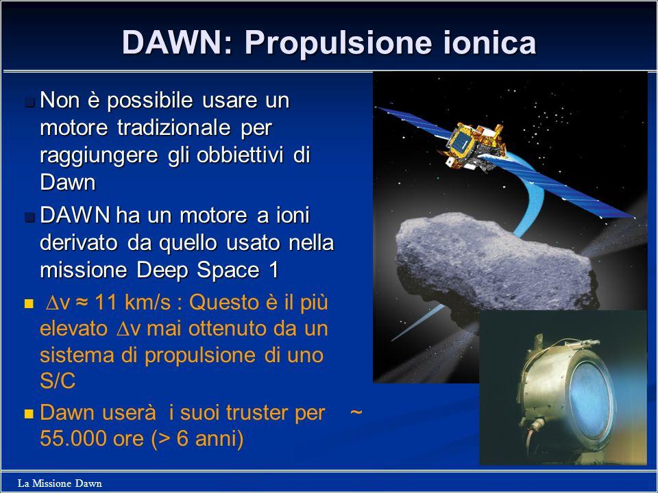 La Missione Dawn DAWN: Propulsione ionica Non è possibile usare un motore tradizionale per raggiungere gli obbiettivi di Dawn Non è possibile usare un