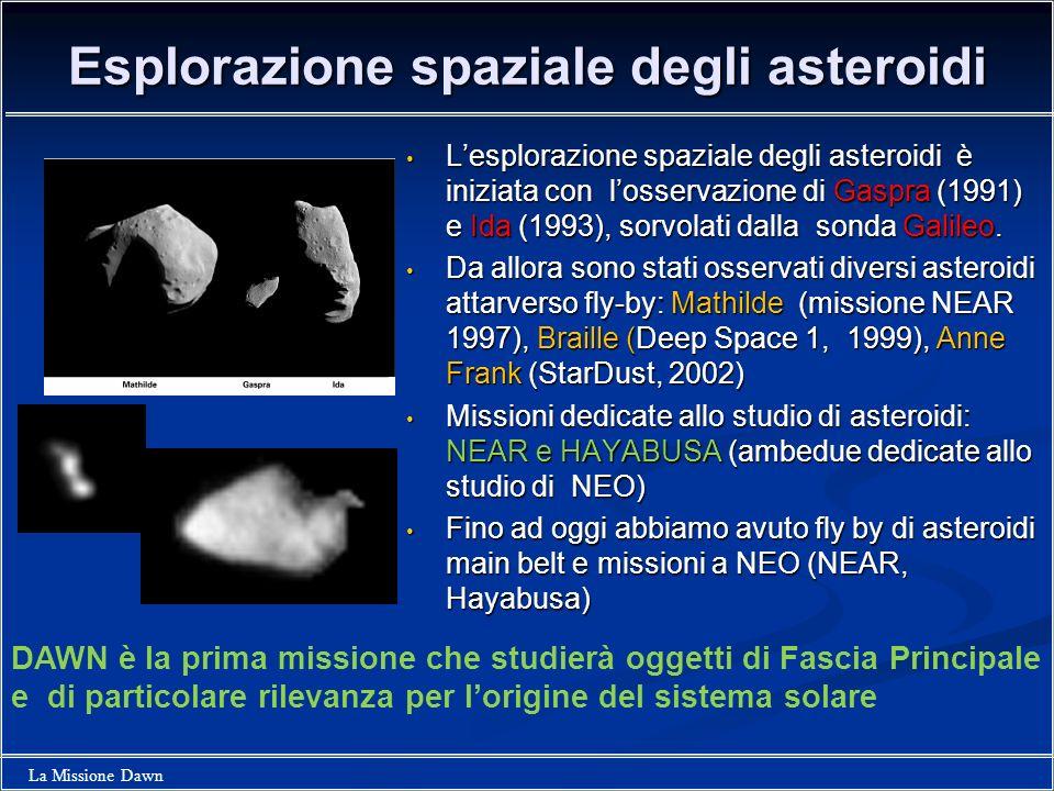La Missione Dawn Esplorazione spaziale degli asteroidi Lesplorazione spaziale degli asteroidi è iniziata con losservazione di Gaspra (1991) e Ida (199