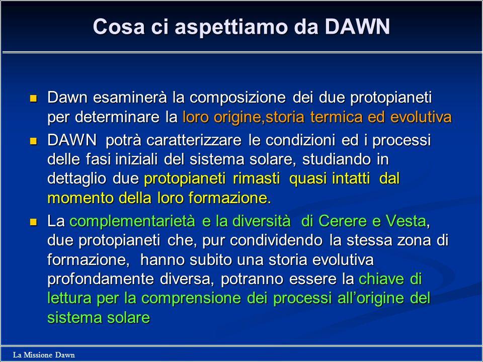 La Missione Dawn Cosa ci aspettiamo da DAWN Dawn esaminerà la composizione dei due protopianeti per determinare la loro origine,storia termica ed evol
