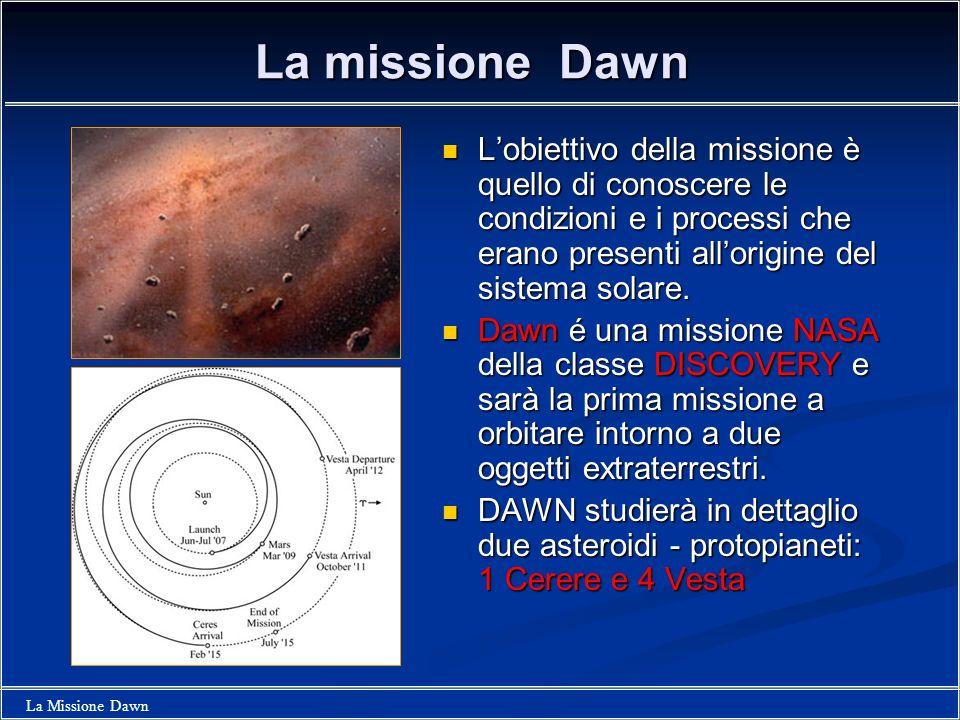 La Missione Dawn DAWN: la prima missione che esplorerà un pianeta nano Lassemblea dellIAU ha rivisto la definizione di pianeta come un corpo che (a) orbita intorno al Sole, (b) ha massa sufficiente perchè lautogravitazione sia maggiore delle forze a stato solido in modo che il corpo assuma una forma di equilibrio idrostatico, e (c) ha svuotato la zona intorno alla sua orbita.