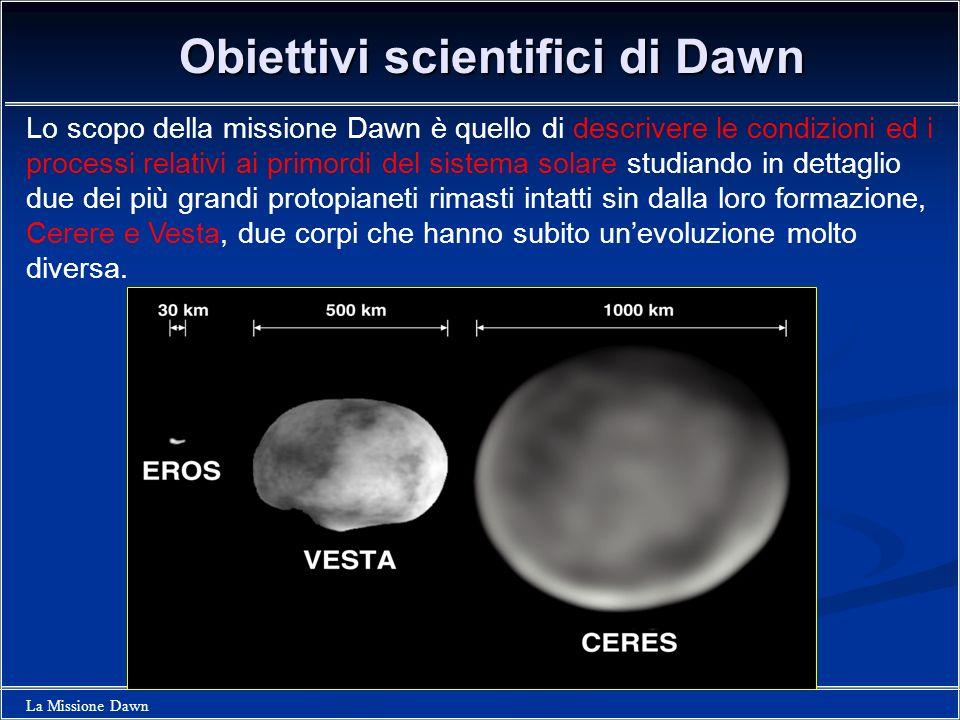 La Missione Dawn Obiettivi scientifici di Dawn Lo scopo della missione Dawn è quello di descrivere le condizioni ed i processi relativi ai primordi de