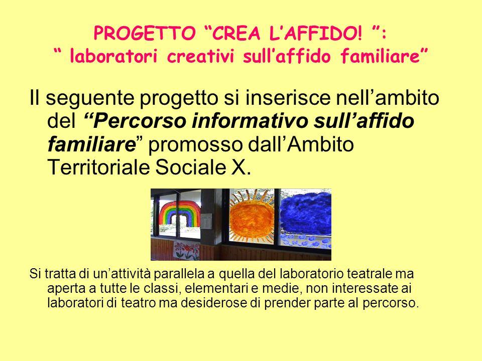 PROGETTO CREA LAFFIDO! : laboratori creativi sullaffido familiare Il seguente progetto si inserisce nellambito del Percorso informativo sullaffido fam