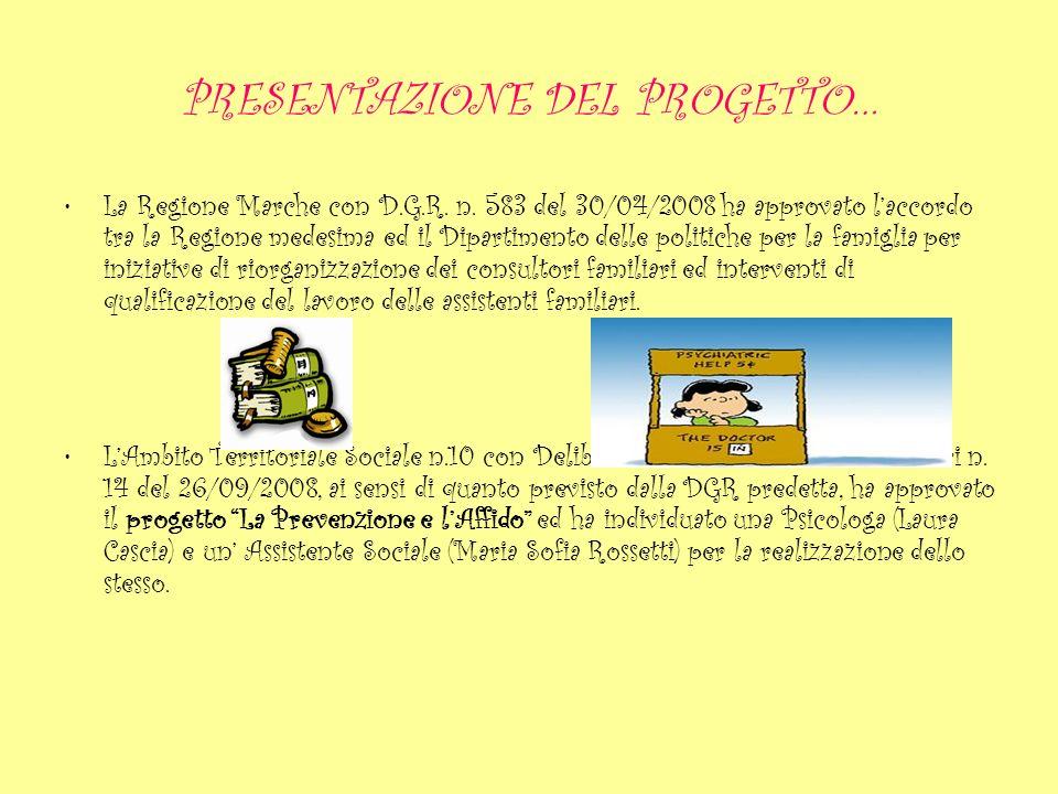 PRESENTAZIONE DEL PROGETTO… Tra le attività previste: Promozione delle tematiche legate allaffido familiare; Sensibilizzazione delle famiglie alla tematiche dellaffido familiare; Supporto allequipe adozioni ed affido dellAmbito Territoriale Sociale n.10.