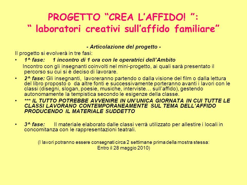 PROGETTO CREA LAFFIDO! : laboratori creativi sullaffido familiare - Articolazione del progetto - Il progetto si evolverà in tre fasi: 1^ fase: 1 incon