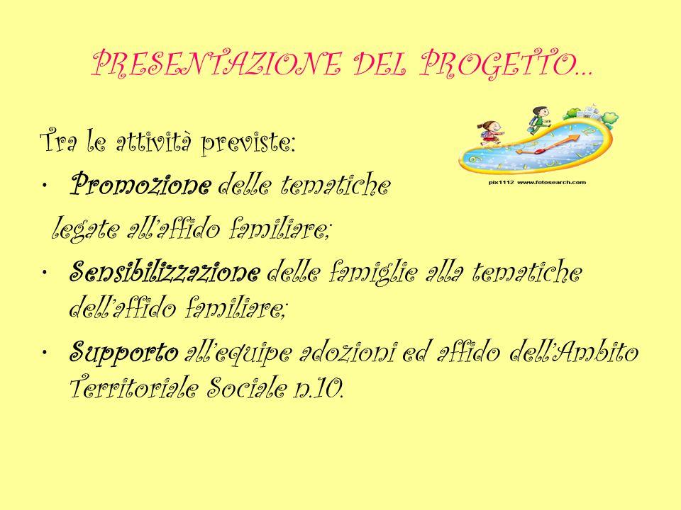 PRESENTAZIONE DEL PROGETTO… Tra le attività previste: Promozione delle tematiche legate allaffido familiare; Sensibilizzazione delle famiglie alla tem