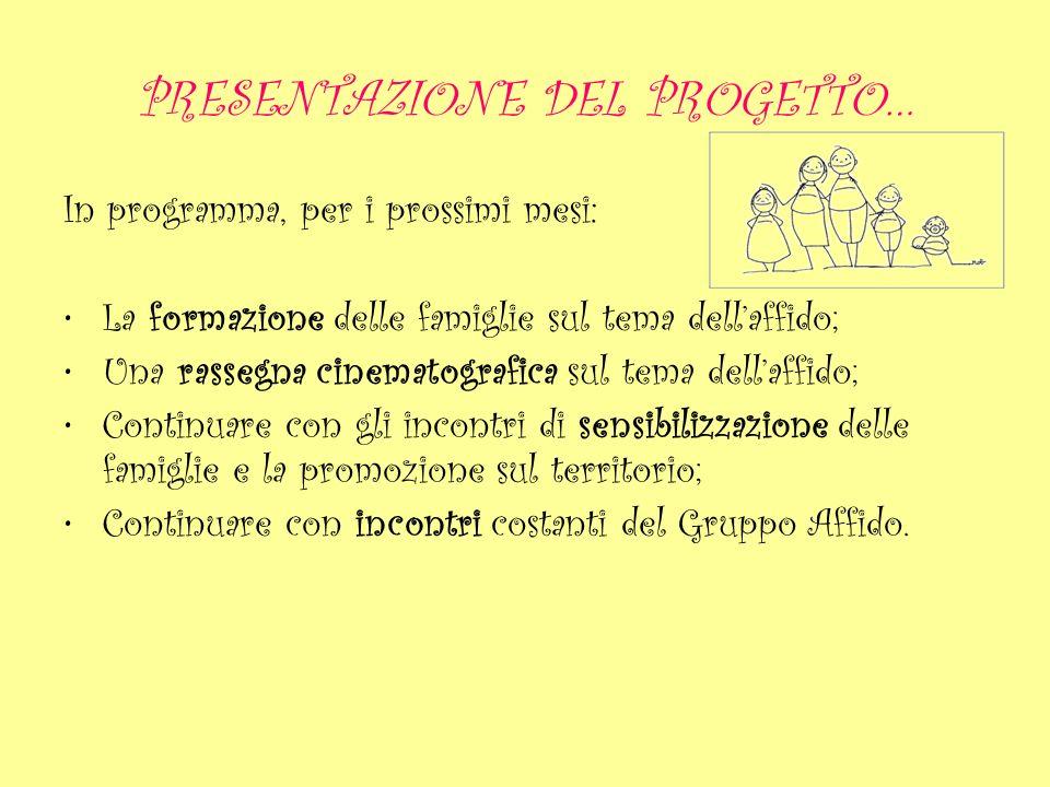 PRESENTAZIONE DEL PROGETTO… In programma, per i prossimi mesi: La formazione delle famiglie sul tema dellaffido; Una rassegna cinematografica sul tema