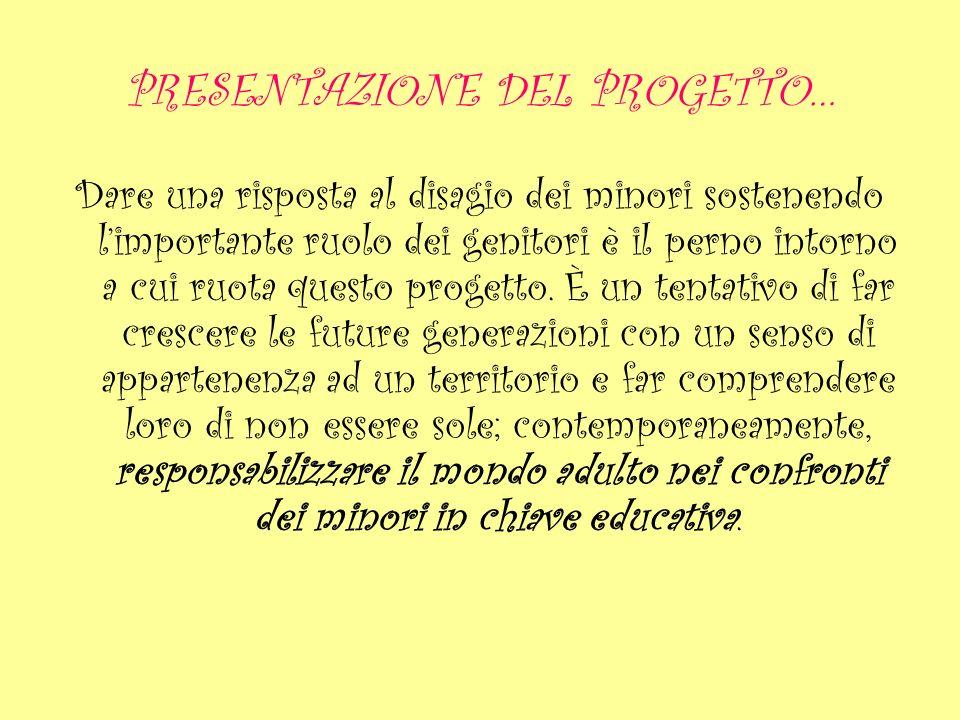 PRESENTAZIONE DEL PROGETTO… Dare una risposta al disagio dei minori sostenendo limportante ruolo dei genitori è il perno intorno a cui ruota questo pr