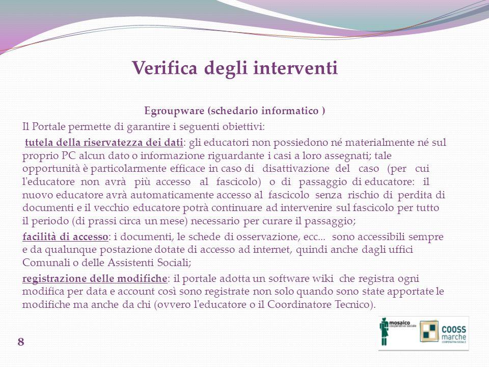 Verifica degli interventi Egroupware (schedario informatico ) Il Portale permette di garantire i seguenti obiettivi: tutela della riservatezza dei dat