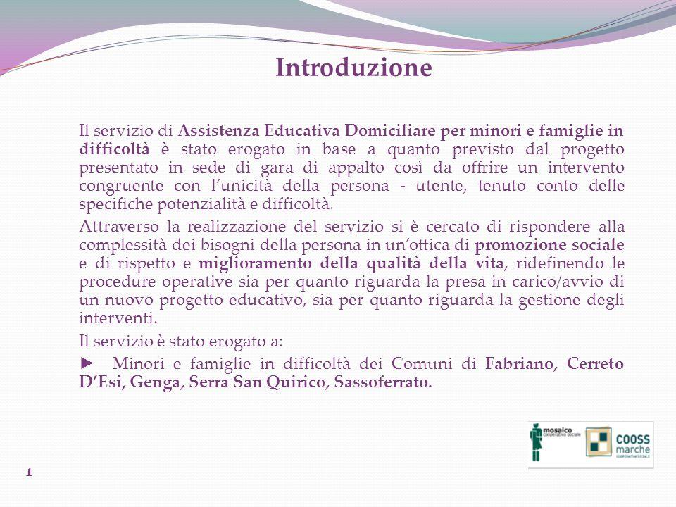 Introduzione Il servizio di Assistenza Educativa Domiciliare per minori e famiglie in difficoltà è stato erogato in base a quanto previsto dal progett