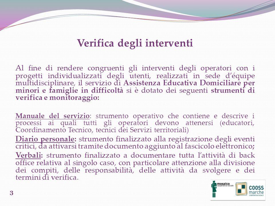 Verifica degli interventi Al fine di rendere congruenti gli interventi degli operatori con i progetti individualizzati degli utenti, realizzati in sed