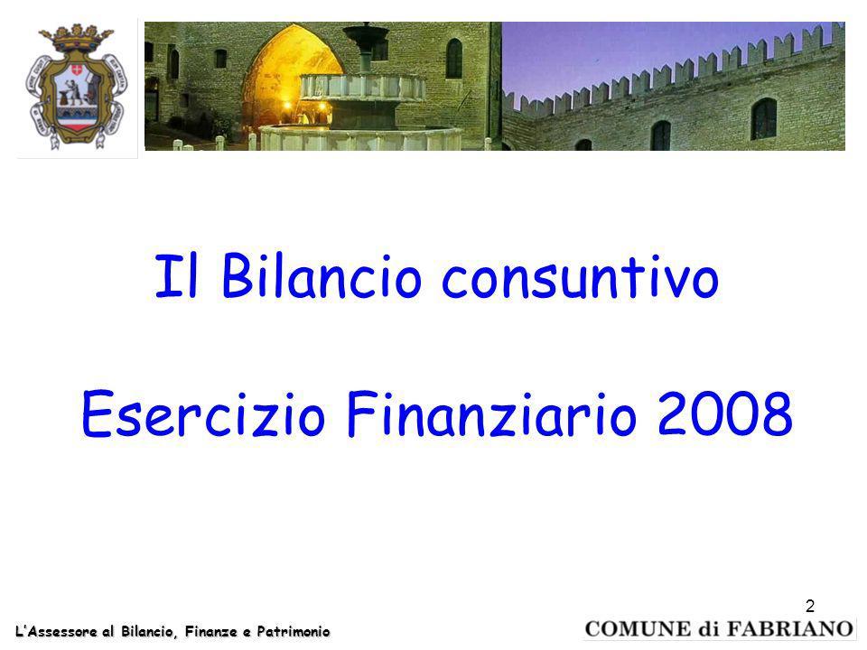 Il Bilancio consuntivo Esercizio Finanziario 2008 LAssessore al Bilancio, Finanze e Patrimonio 2