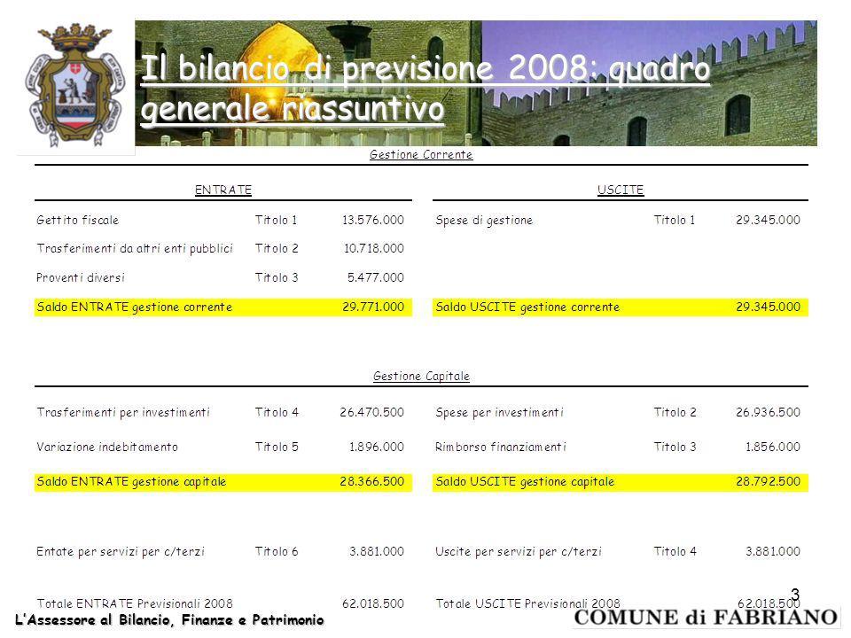 Il bilancio di previsione 2008: quadro generale riassuntivo LAssessore al Bilancio, Finanze e Patrimonio 3