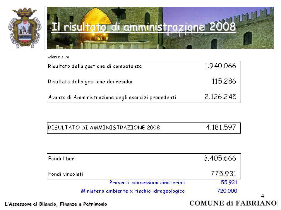 4 Il risultato di amministrazione 2008