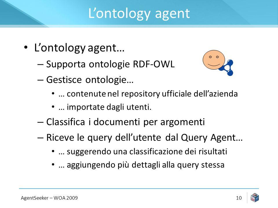 Lontology agent Lontology agent… – Supporta ontologie RDF-OWL – Gestisce ontologie… … contenute nel repository ufficiale dellazienda … importate dagli utenti.