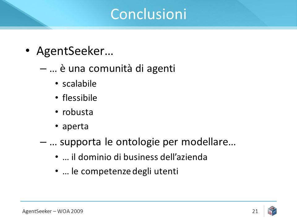 Conclusioni AgentSeeker… – … è una comunità di agenti scalabile flessibile robusta aperta – … supporta le ontologie per modellare… … il dominio di business dellazienda … le competenze degli utenti AgentSeeker – WOA 200921
