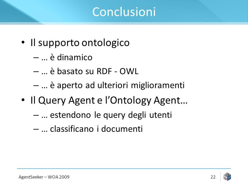 Conclusioni Il supporto ontologico – … è dinamico – … è basato su RDF - OWL – … è aperto ad ulteriori miglioramenti Il Query Agent e lOntology Agent… – … estendono le query degli utenti – … classificano i documenti AgentSeeker – WOA 200922