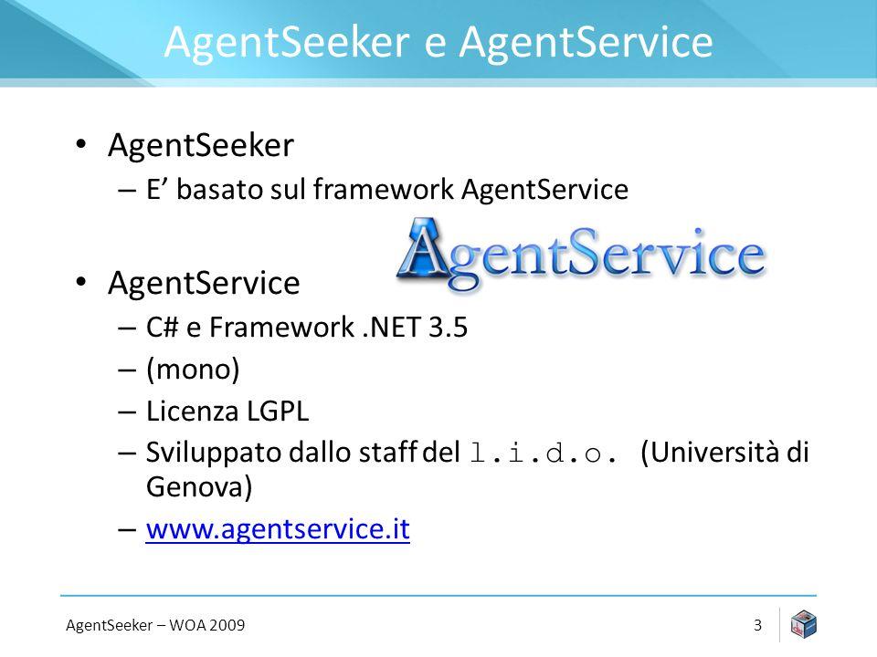AgentSeeker e AgentService AgentSeeker – E basato sul framework AgentService AgentService – C# e Framework.NET 3.5 – (mono) – Licenza LGPL – Sviluppato dallo staff del l.i.d.o.