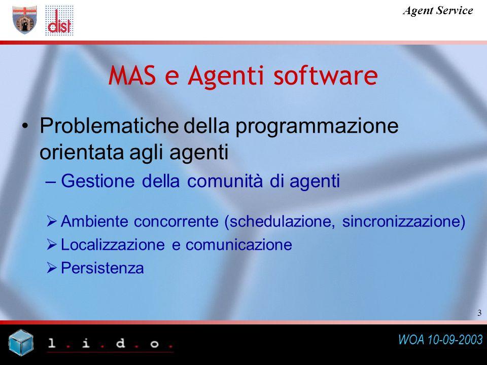 WOA 10-09-2003 Agent Service 3 Problematiche della programmazione orientata agli agenti –Gestione della comunità di agenti Ambiente concorrente (schedulazione, sincronizzazione) Localizzazione e comunicazione Persistenza MAS e Agenti software
