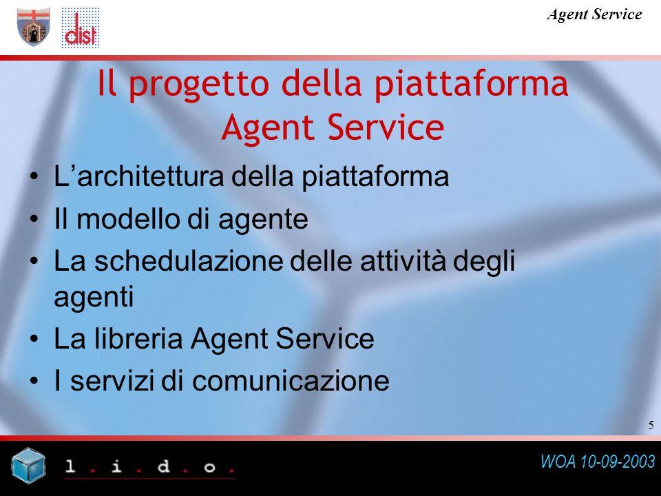 WOA 10-09-2003 Agent Service 5 Il progetto della piattaforma Agent Service Larchitettura della piattaforma Il modello di agente La schedulazione delle attività degli agenti La libreria Agent Service I servizi di comunicazione