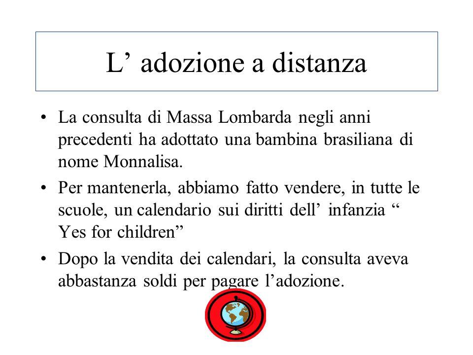L adozione a distanza La consulta di Massa Lombarda negli anni precedenti ha adottato una bambina brasiliana di nome Monnalisa.
