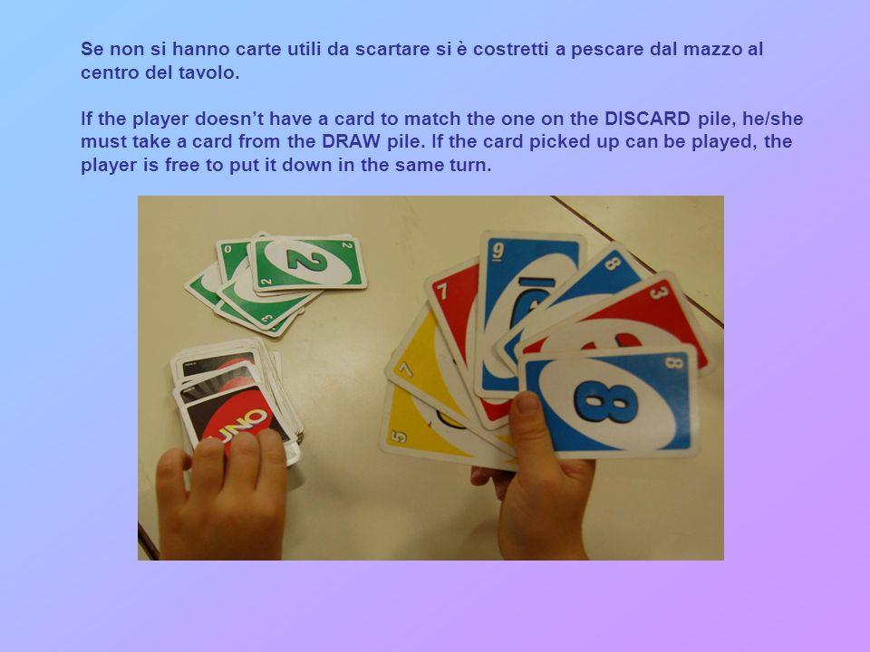 Ogni giocatore a turno deve rispondere scartando una carta seguendo o il colore o il numero The person to the left of the dealer starts playing.