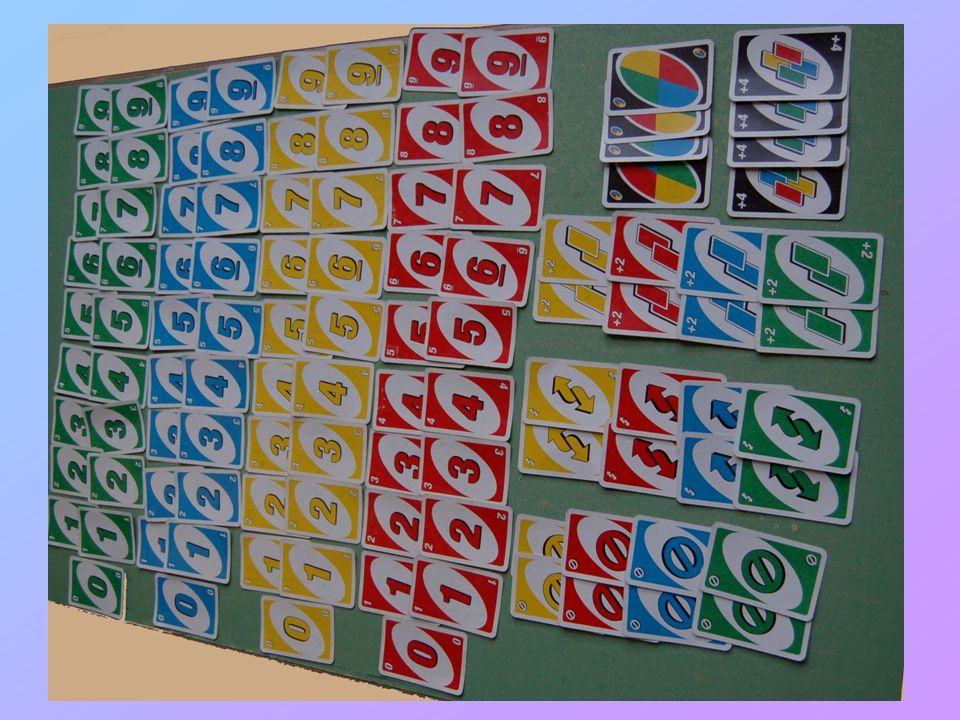 Le regole Giocatori: da 2 a 10, anche a coppie o a squadre Scopo del gioco: scartare tutte le carte per primi Si gioca con 108 carte: 18 carte dall1 al 9 di colore rosso 18 carte dall1 al 9 di colore verde 18 carte dall1 al 9 di colore giallo 18 carte dall1 al 9 di colore blu 4 carte dei 4 colori con il numero 0 8 carte pesca due dei 4 colori 8 carte inverti/cambio giro dei 4 colori 8 carte salta/stop dei 4 colori 4 carte jolly/cambio colore 4 carte jolly pesca quattro/cambio colore (non valida per iniziare il gioco) Players: 2 to 10, or teams.