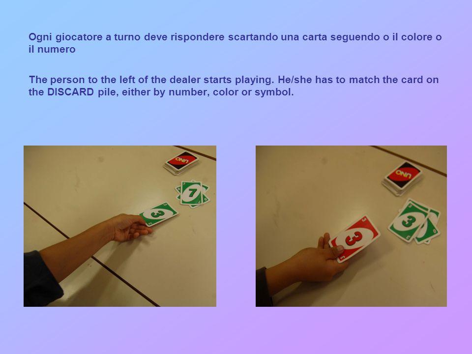 Ogni giocatore a turno deve rispondere scartando una carta seguendo o il colore o il numero The person to the left of the dealer starts playing.