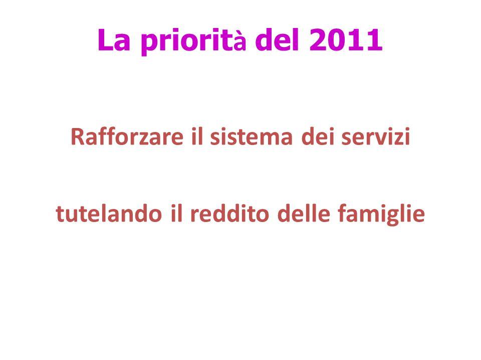 La priorit à del 2011 Rafforzare il sistema dei servizi tutelando il reddito delle famiglie