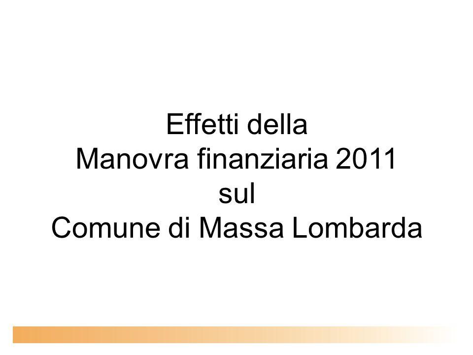 Effetti della Manovra finanziaria 2011 sul Comune di Massa Lombarda