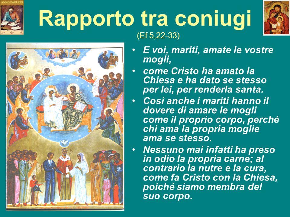 Rapporto tra coniugi (Ef 5,22-33) E voi, mariti, amate le vostre mogli, come Cristo ha amato la Chiesa e ha dato se stesso per lei, per renderla santa