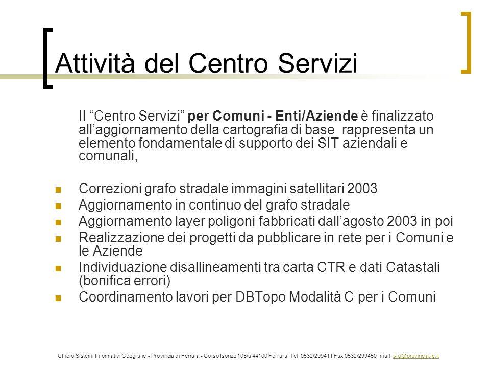 Attività del Centro Servizi Il Centro Servizi per Comuni - Enti/Aziende è finalizzato allaggiornamento della cartografia di base rappresenta un elemen