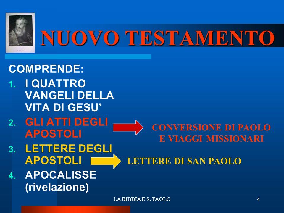 LA BIBBIA E S. PAOLO4 NUOVO TESTAMENTO COMPRENDE: 1. I QUATTRO VANGELI DELLA VITA DI GESU 2. GLI ATTI DEGLI APOSTOLI 3. LETTERE DEGLI APOSTOLI 4. APOC