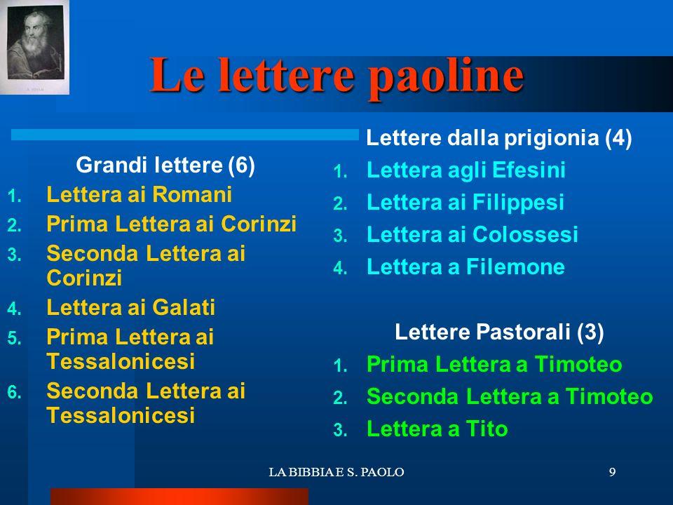 LA BIBBIA E S. PAOLO9 Le lettere paoline Grandi lettere (6) 1. Lettera ai Romani 2. Prima Lettera ai Corinzi 3. Seconda Lettera ai Corinzi 4. Lettera