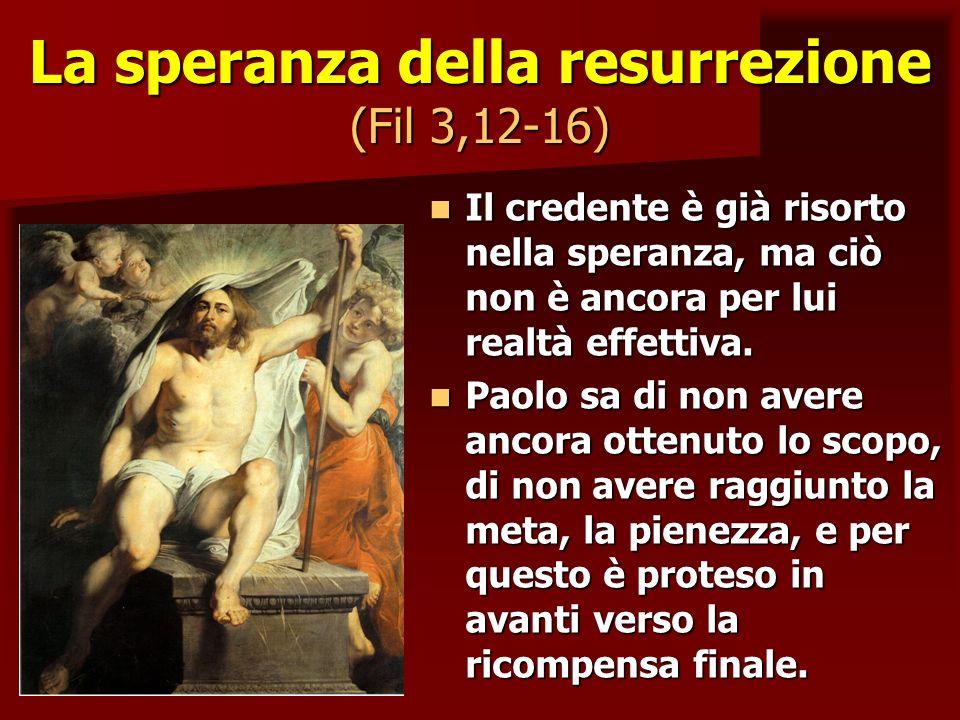 La speranza della resurrezione (Fil 3,12-16) Il credente è già risorto nella speranza, ma ciò non è ancora per lui realtà effettiva. Il credente è già
